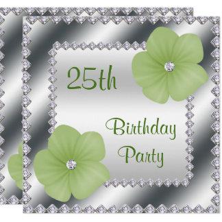 Carte Fleurs vertes et anniversaire de diamants 25ème