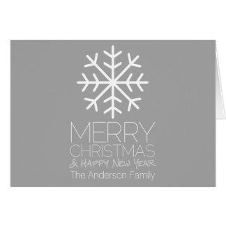 Carte Flocon de neige moderne de Joyeux Noël - gris
