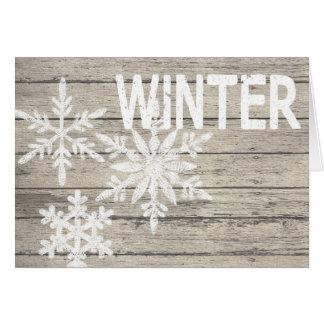 Carte Flocons de neige rustiques d'hiver