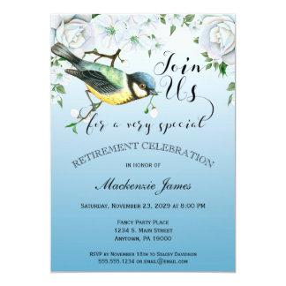 Carte Floral bleu d'invitation de retraite de nature