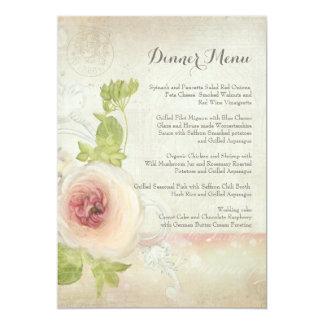 Carte Floral élégant de fleur vintage de pivoine de menu