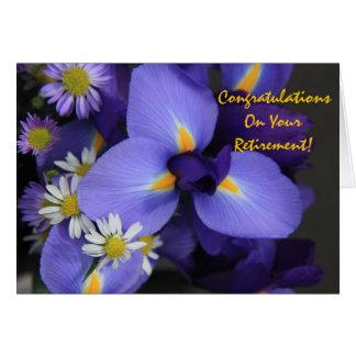 Carte Floral, iris et mini marguerite, retraite