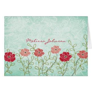 Carte Floral vintage et le feuille ont personnalisé le