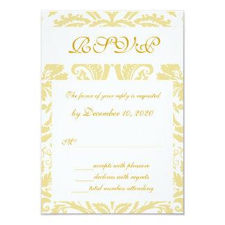 Carte florale crème de mariage damassé RSVP d'or Carton D'invitation 8,89 Cm X 12,70 Cm