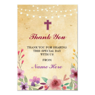 Carte florale croisée sainte religieuse de baptême carton d'invitation 8,89 cm x 12,70 cm