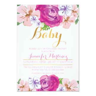 Carte florale de baby shower