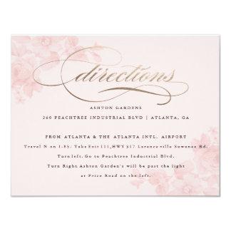 Carte florale de directions d'aluminium de faux carton d'invitation 10,79 cm x 13,97 cm