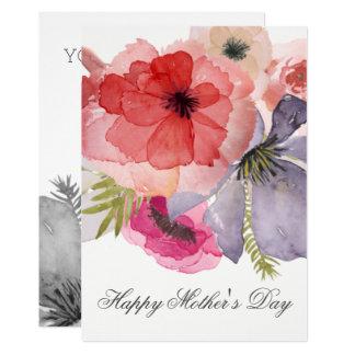 Carte florale de jour de mères de jolie aquarelle
