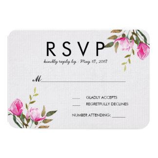 Carte florale de l'aquarelle RSVP de magnolia