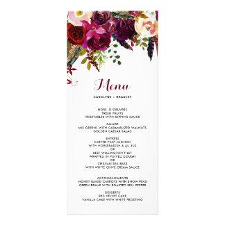 Carte florale de menu d'automne de Boho
