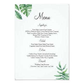 Carte florale de menu de mariage