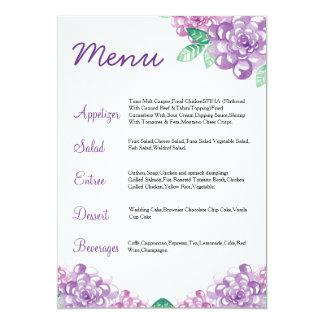 Carte florale de menu de mariage d'aquarelle carton d'invitation  12,7 cm x 17,78 cm