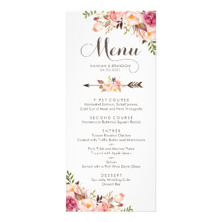 Carte florale de menu de mariage de Boho