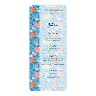 Carte florale de menu de mariage de marine de rose