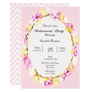 carte florale de partie de retraite de fleur molle carton d'invitation  12,7 cm x 17,78 cm