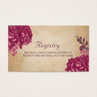 Carte florale d'enregistrement de mariage de