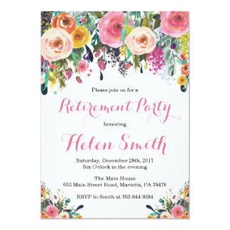 Carte florale d'invitation de partie de retraite carton d'invitation  12,7 cm x 17,78 cm