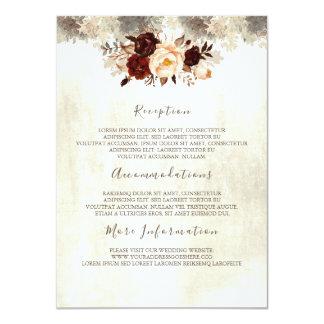 Carte florale d'invité de l'information de mariage