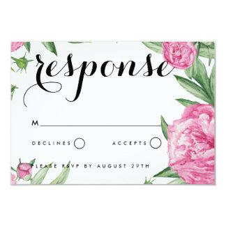 Carte florale du faire-part de mariage RSVP
