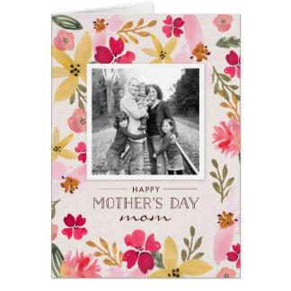 Carte florale du jour de mère d'aquarelle