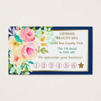 Carte florale élégante de fidélité de spa de