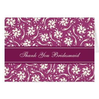 Carte florale fuchsia de demoiselle d'honneur de