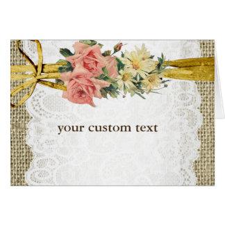 Carte florale Romance rustique de pli de toile de