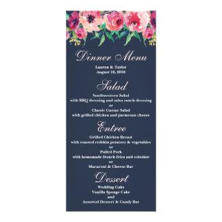 Carte florale rose de menu de mariage d'aquarelle