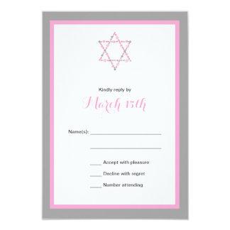 CARTE florale rose du bat mitzvah RSVP d'étoile Carton D'invitation 8,89 Cm X 12,70 Cm