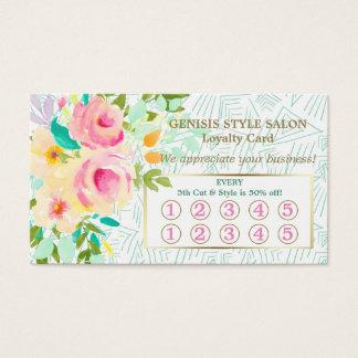 Carte florale rose verte en bon état de fidélité