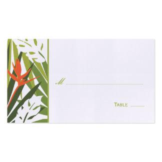 Carte florale tropicale d'endroit - vert et orange carte de visite standard