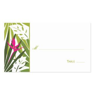 Carte florale tropicale d'endroit - vert et rose carte de visite standard