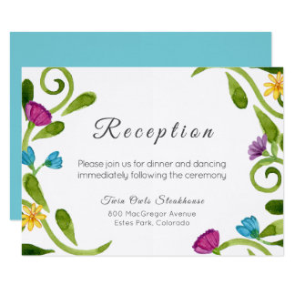 Carte florale verte de réception