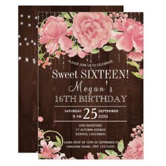 Carte Floraux rustiques rougissent sweet sixteen de