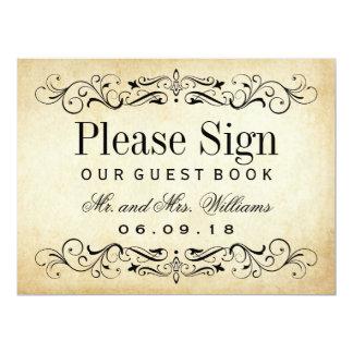 Carte Flourish vintage du signe | de livre d'invité de