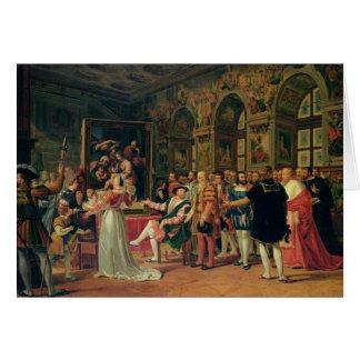 Carte Francis I recevant une peinture du saint