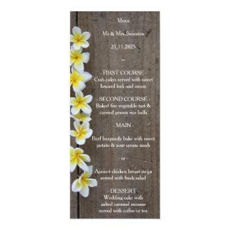 Carte Frangipani de mariage de plage/menu rustique de