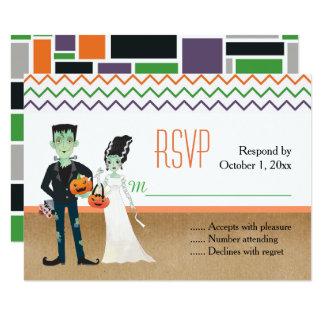 Carte Frankenstein et jeune mariée Halloween épousant la