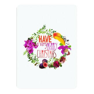 Carte Fruit et guirlande de fleurs