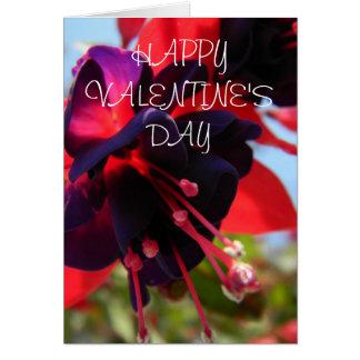 Carte fuchsia de fleur de heureuse Sainte-Valentin
