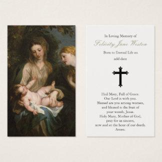 Carte funèbre Madonna de prière et enfant et St