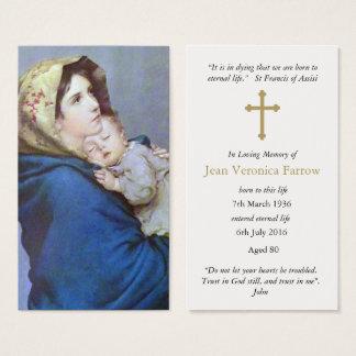Carte funèbre Madonnina de prière