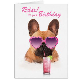 Carte Funny birthday card french bouledogue dog
