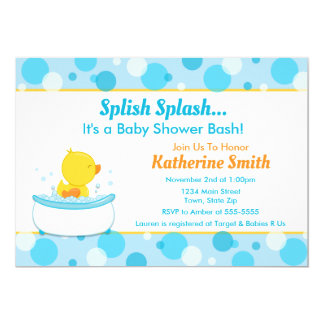Carte Garçon de canard de bébé d'invitation de baby