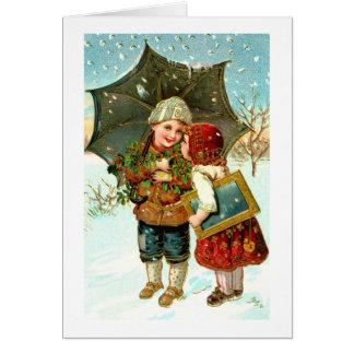 Carte Garçon, fille et parapluie