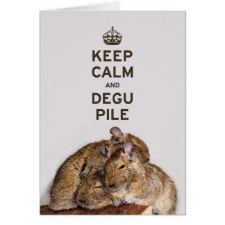 Carte Gardez le calme et la pile de Degu