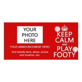 Carte Gardez le calme et le jeu Footy (le football) (le