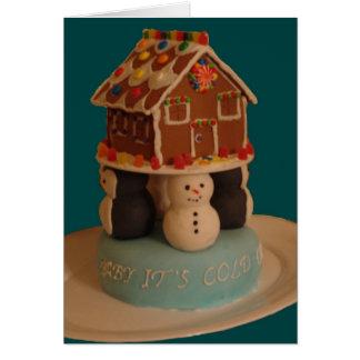 Carte Gâteau avec les pingouins et le cottage de pain