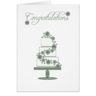 Carte gâteau de mariage, félicitations de jour du