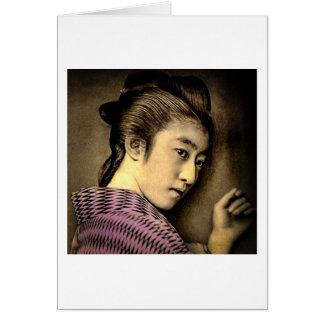 Carte Geisha dans les ombres vieux Japon vintage